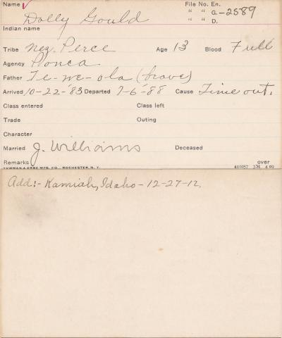 Dolly Gould Student Information Card