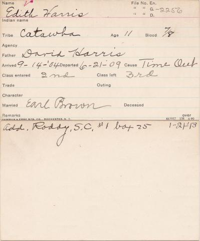 Edith Harris Student Information Card