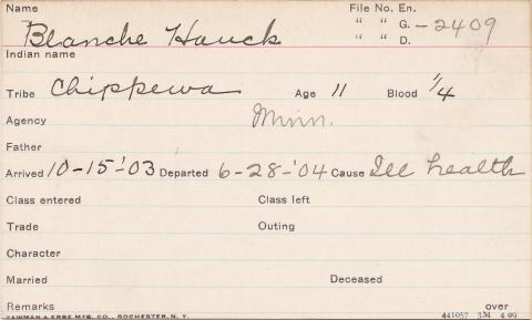 Blanche Hauck Student Information Card