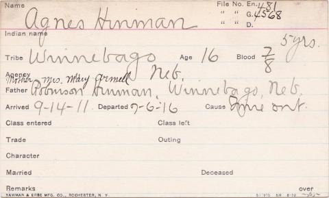 Agnes Hinman Student Information Card
