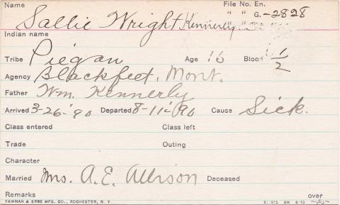 Sallie Wright Kennerly Student Information Card