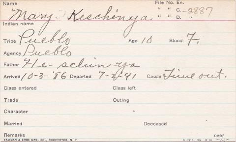 Mary Heschinya Student Information Card
