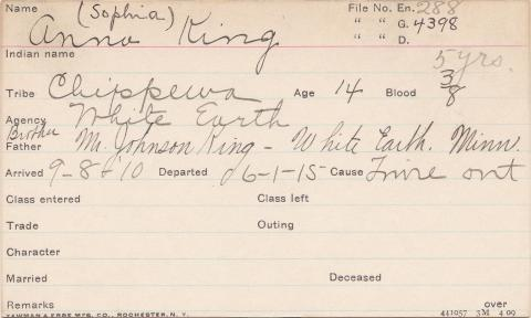 Anna King (Sophia King) Student Information Card