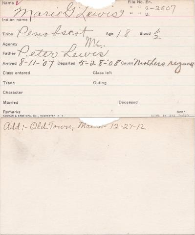 Marie G. Lewis Student Information Card