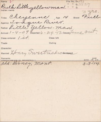 Ruth Little Yellow Man Student Information Card