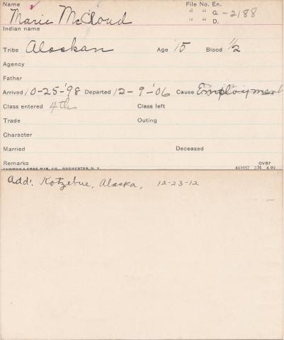 Marie McCloud Student Information Card