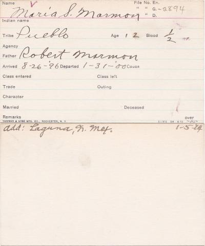 Maria S. Marmon Student Information Card