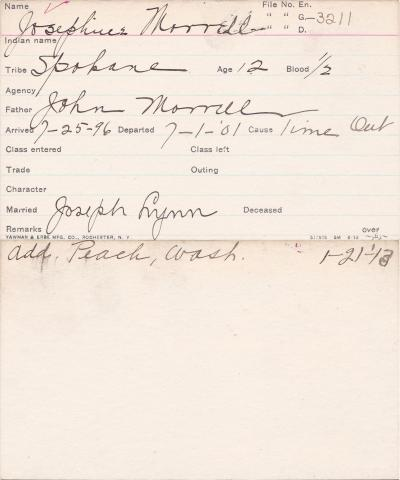 Josephine Morrell Student Information Card