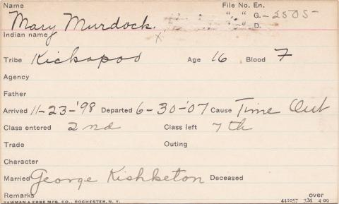 Mary Murdock Student Information Card