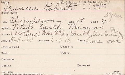 Frances Roberts Student Information Card
