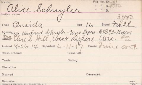 Alice Schuyler Student Information Card