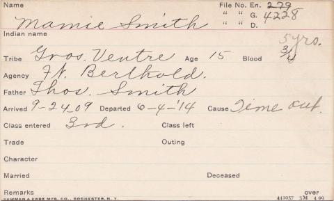 Mamie Smith Student Information Card