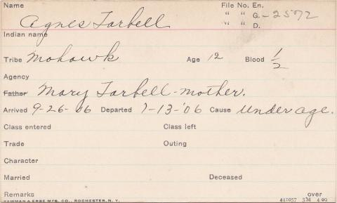 Agnes Tarbell Student Information Card