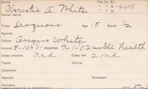 Christie A. White Student Information Card