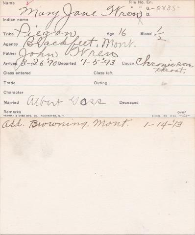 Mary Jane Wren Student Information Card