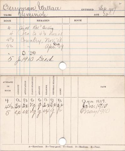 Wallace Berryman Student Information Card