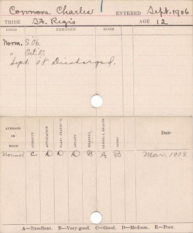 Charles Connors Progress Card