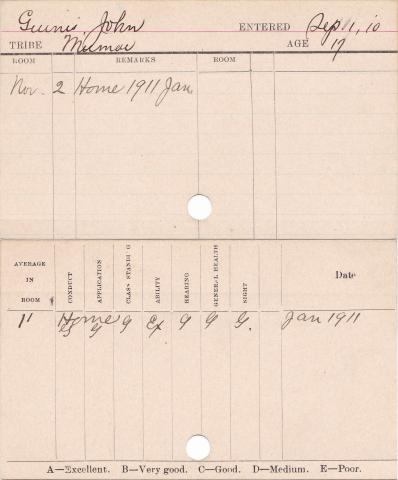 John Ginnes Progress Card