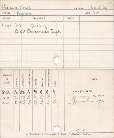 Emil Hauser Progress Card
