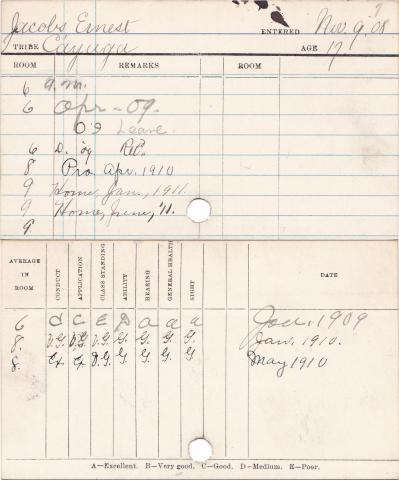 Ernest Jacobs Progress Card