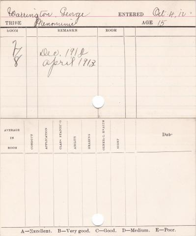 George Warrington Progress Card