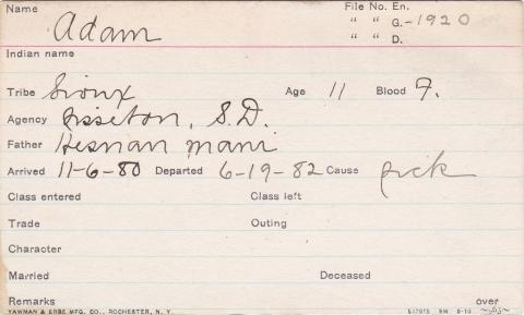 Adam (First Born) Student Information Card