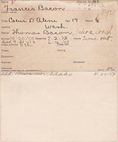 Francis Bacon Student Information Card