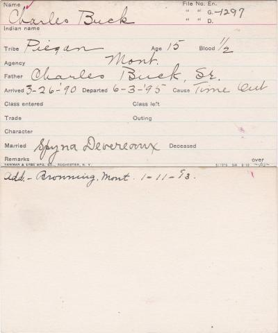 Charles Buck Student Information Card