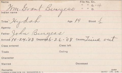 William Grant Burgess Student Information Card