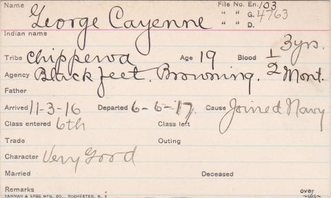 George Cayenne Student Information Card
