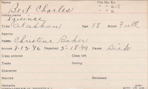 Bert Charles (Squince) Student Information Card