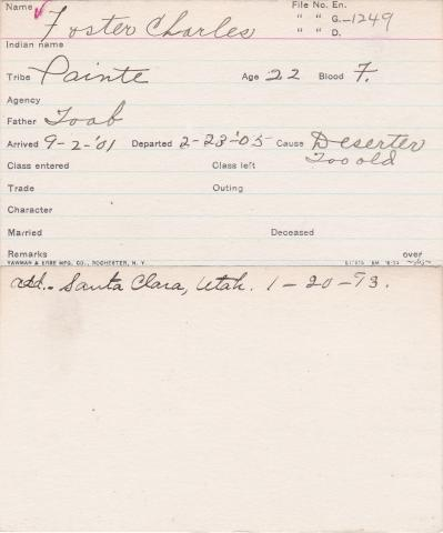 Foster Charles Student Information Card