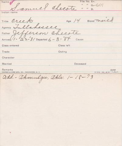 Samuel Checote Student Information Card