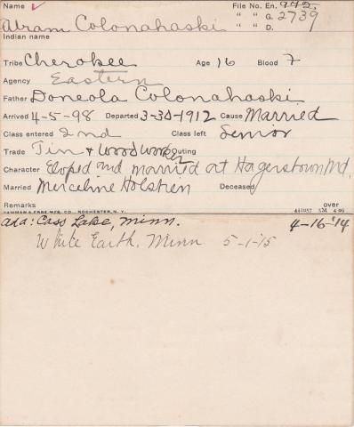 Abram Colonohaski Student Information Card