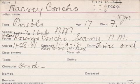 Harvey Concho Student Information Card