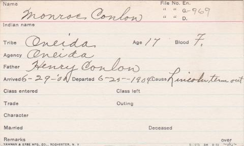 Monroe Coulon Student Information Card
