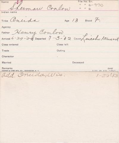 Sherman Coulon Student Information Card
