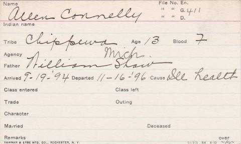 Allen Connelly Student Information Card