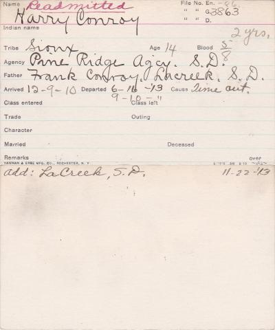Harry Conroy Student Information Card
