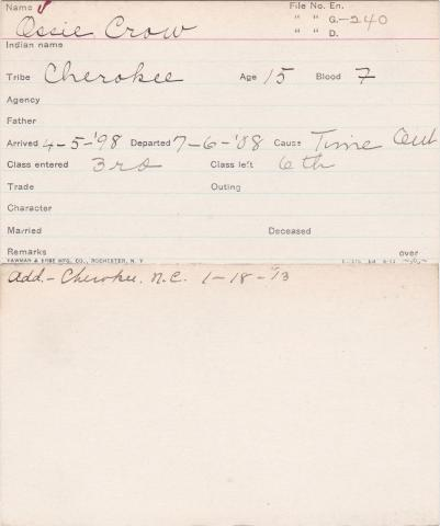 Ossie Crow Student Information Card