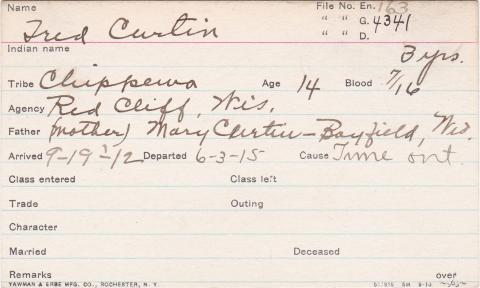 Fred Curtin Student Information Card