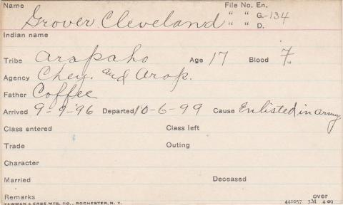Grover Cleveland Student Information Card
