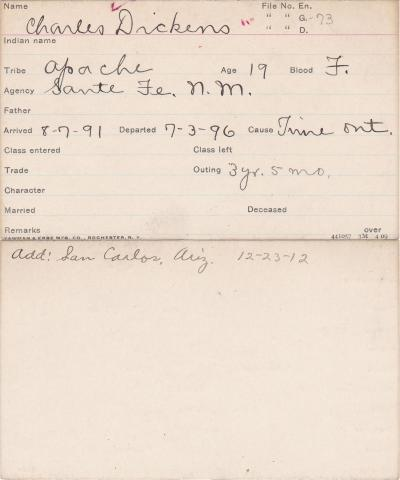 Charles Dickens Student Information Card