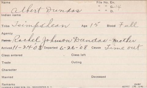 Albert Dundas Student Information Card