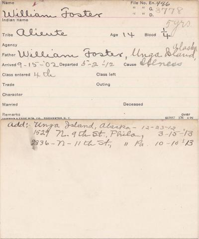 William Foster Student Information Card