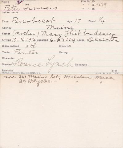 Peter Francis Student Information Card