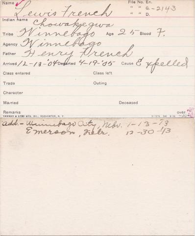 Lewis French (Chowakegwa) Student Information Card