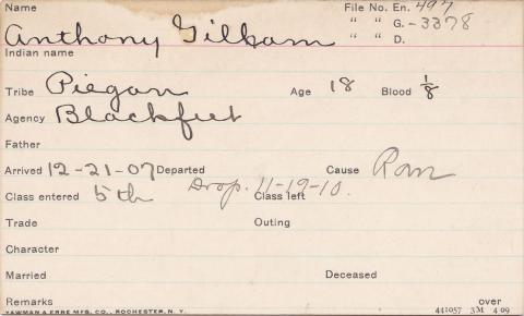Anthony Gilham Student Information Card