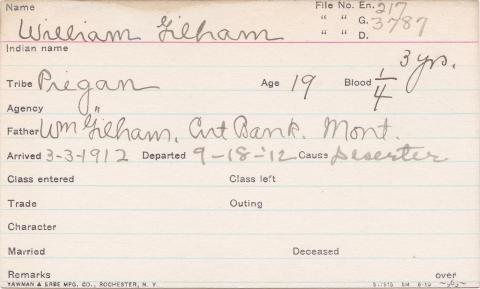 William Gilham Student Information Card