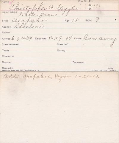 Christopher C. Goggles (White Man) Student Information Card